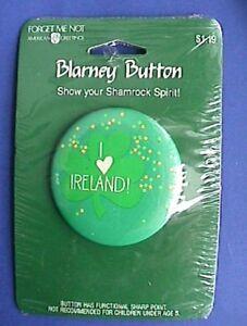 American Greetings BUTTON PIN St Patrick Vintage HEART IRELAND IRISH Holiday NEW