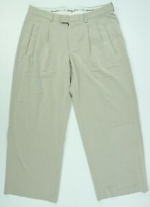 Emporio Armani Men's 34 x 29 Beige Herringbone Cotton Casual Pleated Dress Pants