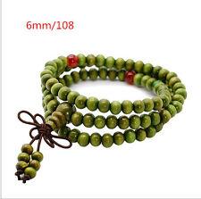 108*6mm Green TA Sandalwood Buddhist Prayer IU Bead Mala Bracelet/Necklace
