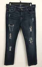 NWOT 7 For All Mankind Roxanne Dark Distressed Ankle Jeans 28