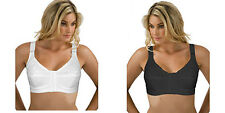 Front Fastening Bra White & Black Cotton Rich with Lace Non Wired 34B-44E