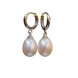 Nice AAAA Drop Freshwater White pearl Sterling silver S925 earring Dangle 29mm