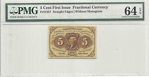 straight edge 5 cent w/o monogram pmg 64epq FR# 1231