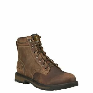 """Ariat Men's Groundbreaker 6"""" Brown Lace-Up Soft Toe Work Boots 10016256"""