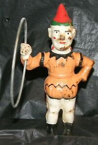 "Antique Cast Iron Mechanical Bank ""Trick Dog"" CLOWN WITH HOOP ONLY"
