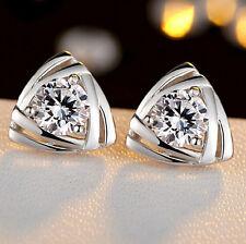 925 Sterling Silver Plated Zircon Triangle Love Hearts Ear Stud Earrings Jewerly