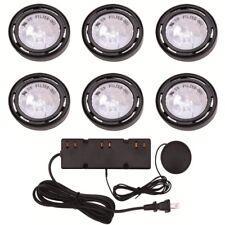 6-Light Xenon Puck Light Kit Black Kitchen Under Cabinet Display Lighting 120V