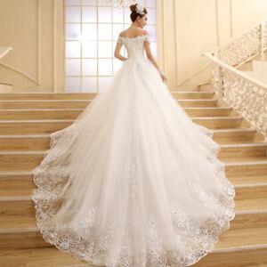 Bride Wedding Dress Korean Off Shoulder Lace Sequin Embroidery Long Tailing Dres