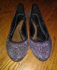 Shoedazzle KAT Black Silver studs studded jewels flat Shoes Size 7 NEW