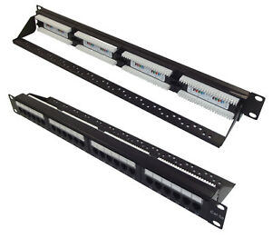 Cat5e UTP RJ45 24 Port Patch Panel with Rear Cable Manangement Support Bar