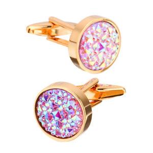 Elegant Copper Crystal Gold Cufflinks Wedding Party Cuff Links Men's Gift