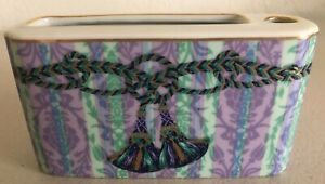 BEAUTIFUL FLORAL CERAMIC TOOTHBRUSH & TOOTHPASTE HOLDER BLUE PURPLE & GOLD