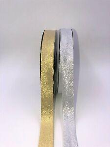 1 Metre Lurex Bias Binding Tape 20mm Welted Silver-Gold