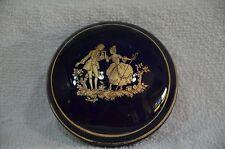 Porcelaine  Limoges France Covered Trinket Box/ Dresser Jar Cobalt Blue (25)