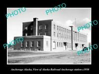 OLD LARGE HISTORIC PHOTO OF ANCHORAGE ALASKA, THE RAILROAD DEPOT STATION c1950