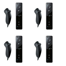 4x BUILT IN MOTION PLUS REMOTE AND NUNCHUCK CONTROLLER+CASE FOR WII BLACK US