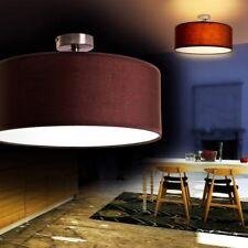 Lámpara de techo elegante tambor textil marrón salón dormitorio cocina clásico