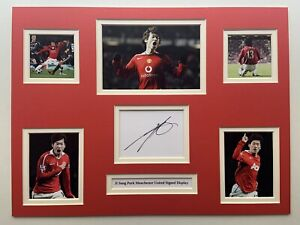 """Manchester United Ji Sung Park Signed 16"""" X 12"""" Double Mounted Display"""