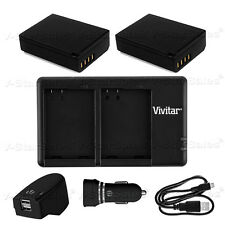 2X LP-E10 Replacement Battery & USB Dual Charger+ AC/DC for Canon Rebel T3 T5