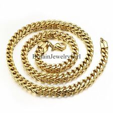 """Gold Tone Mens Square Curb Cuban  Link Chain Stainless Steel Necklace 22"""""""