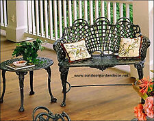 French Victorian Cast Aluminum Basketweave Garden Patio Bench - Antique Repro