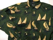 Nautica Shirt Sailboats All Over Print Button Down Long Sleeve 90s Vtg Sailing L