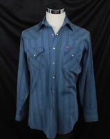 Vintage 80's Ely Plains Western Pearl Snap Button Front Shirt Size Medium 15