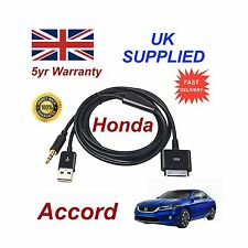Para Honda ACCORD iPhone 3GS 4 4s iPod USB y cable AUX 3.5mm Negro