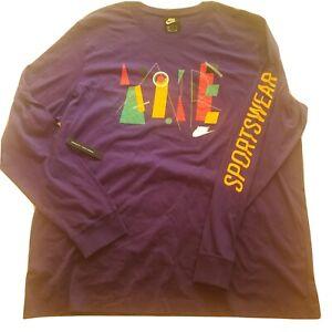 Nike Sportswear Standard Fit LS T Shirt 2X XXL Retro 90s Fresh Prince Purple NWT
