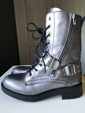 RIVER ISLAND Grey Leather Ladies Women Military Calf High Shoe Boot Size 3 36