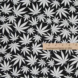 Marijuana GLOW IN THE DARK Cannabis Pot Grass Weed Hemp Fabric  1/2 Yard  #C8538