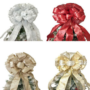 Christmas Tree Bow Decorations Topper Glitter Bow-Knot Christmas Tree Decor New