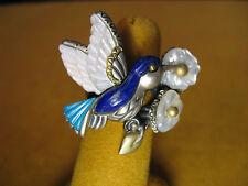 BARBARA BIXBY HUMMINGBIRD FLOWER RING SIZE 5 LAPIS TURQUOISE MOP LEAF ORGANIC