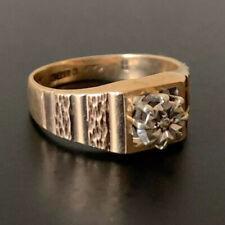 Vintage 9ct oro solitario diamante anillo 3.15g con textura de Compromiso Talla K Década de 1970