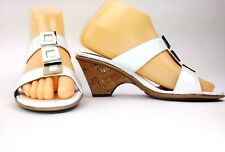 Sofft Womens Sandals Size 7 Narrow White Patent Leather Cork Heel