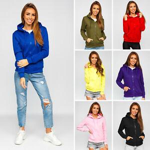 Kapuzenpullover Sweatjacke Sweatshirt Basic Sport Kapuze Damen BOLF Unifarben