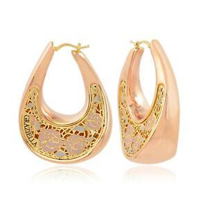 18k Rose Gold Flower Enamel Dangle Hoop Earrings GRAZIELLA Personalized Jewelry