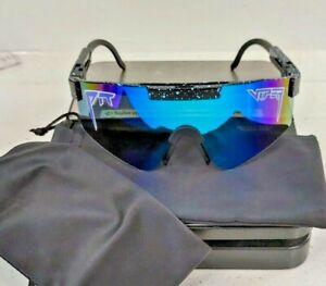 Pit Viper Polarized Sunglasses multi color lens speckled blue black w pouch New