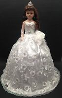 NEW White 28 inch Mis 15 XV Anos Quinceanera Porcelain Umbrella Muñeca Doll