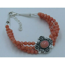 QVC Triple Strand 925 Sterling Silver Natural Pink Coral Bracelet