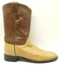 Justin Brown Smooth Ostrich Leather Cowboy Western Roper Boots Men's 8.5 B