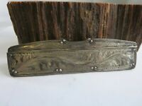 Antique Deep Etched Sterling Silver Victorian Faux Tortoiseshell Hair Comb E5