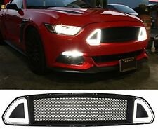 15-17 Ford Mustang DRL LED Front Grille Hood Bumper Mesh Grill