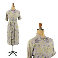 Vintage 40s Ann Allyn Rayon Crepe Abstract Floral Novelty Print Art Deco Dress S
