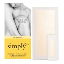 GiGi Simply Ready-to-Use Wax Strips for Face & Body 18 Strips