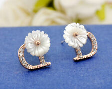 Lady White Mother of Pearl 10MM Lovely Flower 925 Silver Stud Earrings Stunning