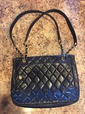 Authentic CHANEL Black Quilted Lambskin Leather Chain Shoulder Bag Purse