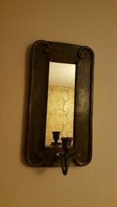 Vintage Rustic Wooden Ornate Framed Mirror With Candle Holders Hand Carved...