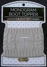 Mudpie Women's Chelsea Monogramed Cable Knit Boot Toppers / Initial T / New