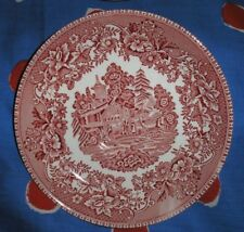 "Enoch Wedgwood Tunstall""Avon Cottage"" Red & White Large Saucer Plate D=16cm."